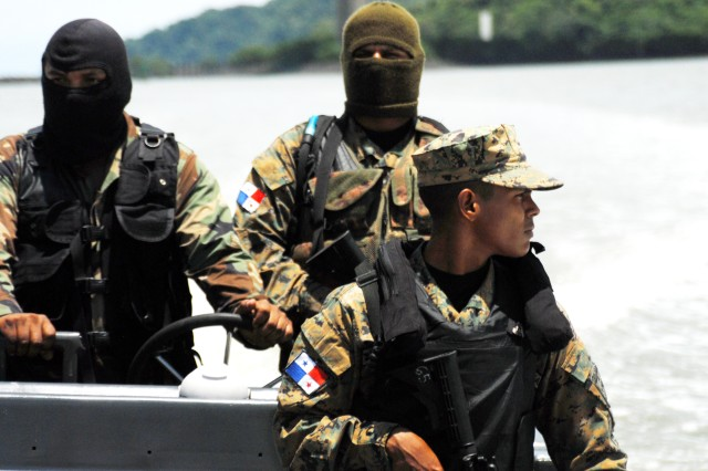 Panamanian Special Forces conducted harbor patrol security in the Panama Canal during PANAMAX 2010, last August.