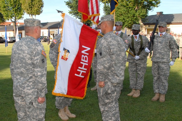 More than 350 Soldiers, Civilians and Family members gathered Aug. 12 at Hoekstra Field in Vicenza, Italy, for an exciting and historic event for U.S. Army Africa — one that highlighted the distinguished history of Headquarters Support Company and marked the activation of the HHB.
