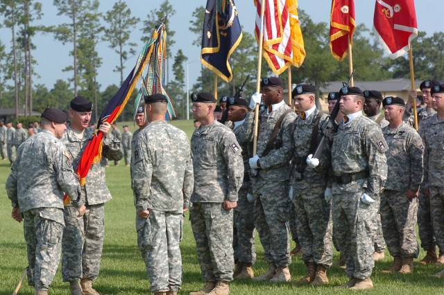 A change of command ceremony is held at Camp Shelby Joint Forces Training Center Aug. 4 as the 158th Infantry Brigade welcomes their new commander, Col. Christopher S. Forbes.