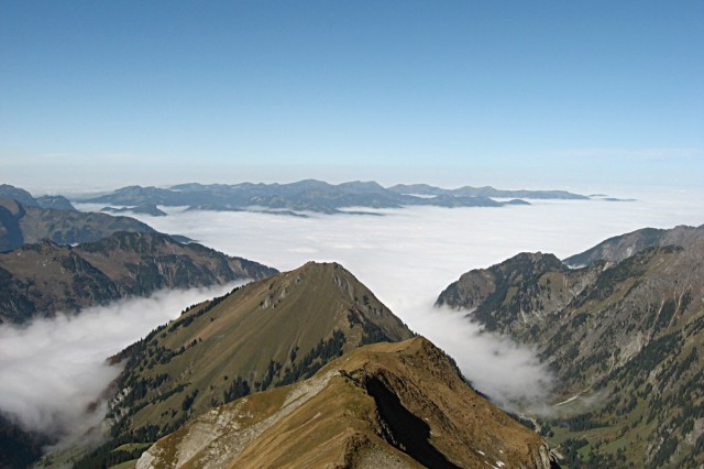 Looking north from the Allgaeu Alps at Germany's southern frontier after beginning the E-5 walking path in Oberstdorf. While cloudy days can throw off hikers at low elevations, often the Alpine hiking routes will take you high above the weather.