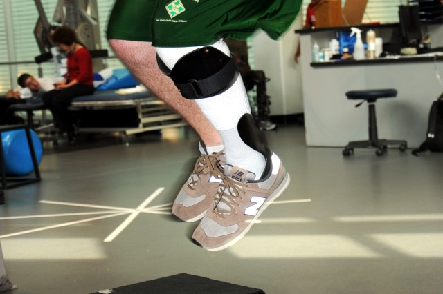 Spc. Michael Krapels, a member of the Chosen Company, 2nd Battalion, 503rd Infantry Regiment, is able to jump again after being told that his lower leg would be amputated. Krapels is in physical therapy at the Center for the Inprepid at Fort Sam Houston, Texas, using the Intrepid Dynamic Exoskeletal Orthosis, and preparing to deploy with his unit.