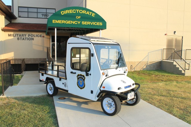 The Directorate of Emergency Services unplugged their electric carts and had them converted to solar power. The carts are small enough to maneuver in large crowds, but dependable and large enough to assist with transport.