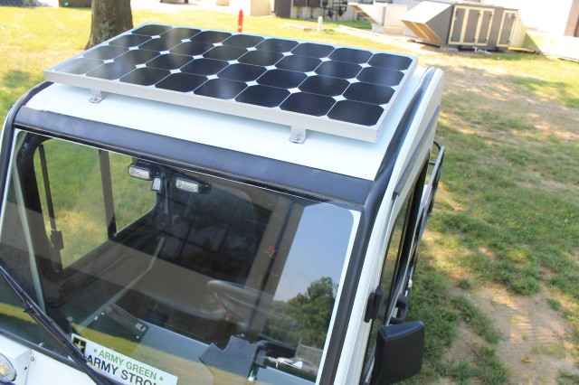 With the solar panels on the roof, this golf cart modified for law enforcement use is now more dependable and can run for hours on its solar charge. The Fort Knox Directorate of Emergency Services suspects this is the first of its kind in military law enforcement.