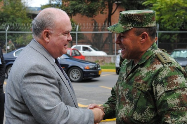 Gen. Alejandro Navas, commander of the Colombian army, greets Under Secretary of the Army Joseph W. Westphal at Colombian army headquarters July 28, 2011.