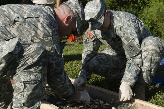 Soldiers assigned to the Army Reserve's 383rd Military Police Detachment (Criminal Investigative Division), carefully work through dozens of bone fragments during a forensic training exercise in Lakeland, Fla. The special agents spent the weekend fine tuning their criminal investigative skills with members of the Fort Benning, Ga., CID detachment mentoring the Army Reserve Soldiers. The detachment is assigned to the 200th Military Police Command, based at Fort Meade, Md.