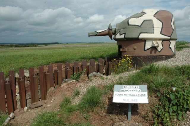 One of the retractable gun turrets at Fort Casso, along the Maginot Line near Rohrbach, France.