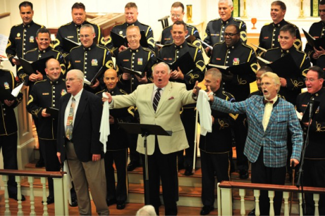 "The ""Three Senior Tenors,"" retired Master Sgt. Michael Miller, retired Sgt. Maj. Byron Corcoran and retired Spc. 6 David Sundquist, former members of the U.S. Army Band Chorus, come back to sing with the current chorus for the ensembles 55th birthday celebration."
