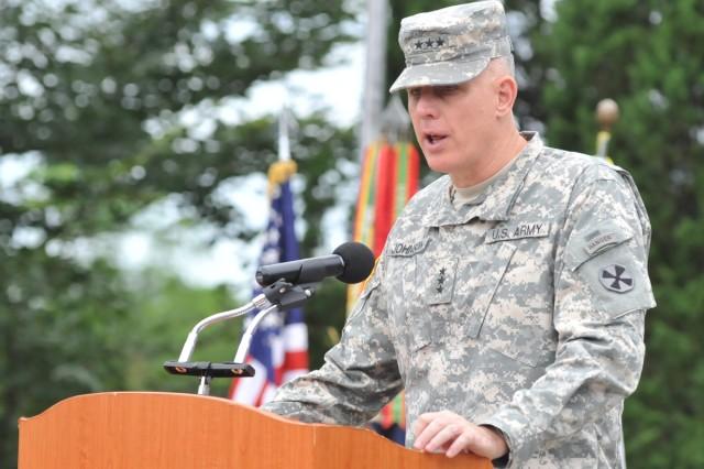 Eighth Army Commander Lt. Gen. John D. Johnson speaks at the annual memorial ceremony for Capt. Arthur Bonifas and 1st Lt. Mark Barrett Aug. 18 at Camp Bonifas, South Korea.