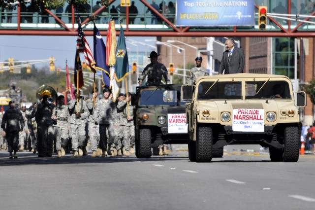 Murray leads last year's Veterans' Day parade through downtown Columbia. Murray died Friday of congestive heart failure at the age of 89. Murray's death reduces the number of living Medal of Honor recipients to 84, 14 of whom have served in World War II.