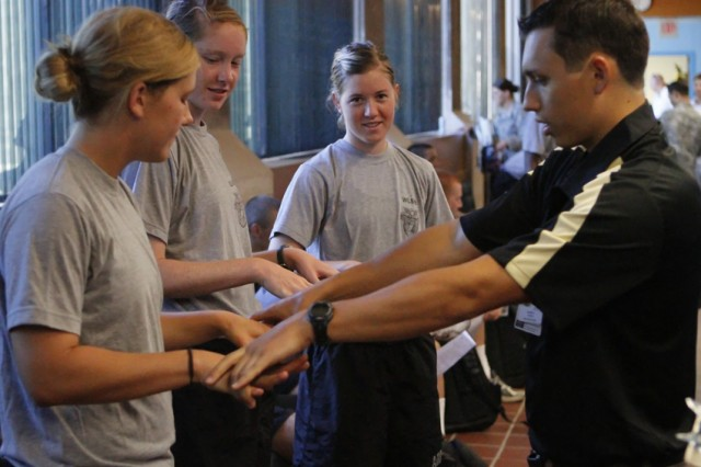 It was sports physical day at Mologne Cadet Health Clinic  Aug. 11 for more than 250 cadets ready to compete in NCAA sports this year. Assisting in the process were several physicians from the Primary Care Sports Medicine Fellowship Program from Fort Belvoir, Va.