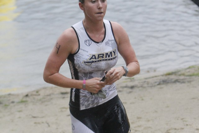 Class of 2014 Cadet Kelly Kingma finished 24th overall with a time of 1:18:03 at the 22nd annual West Point Triathlon on Aug. 14, 2011.