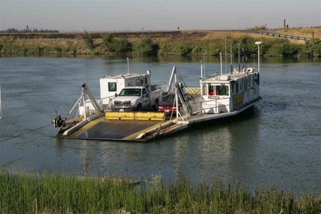 The Sherman Island Ferry, shown in this 2006 file photo, in operation in the Sacramento-San Joaquin Delta.