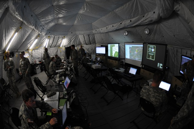 "CAMP ATTERBURY, Ind. "" In the operations center for Task Force Aviation, leaders track ongoing search and rescue missions and plan a wide-range of upcoming missions Aug. 18 during Vibrant Response 12, an annual U.S. Northern Command field training exercise conducted by U.S. Army North."