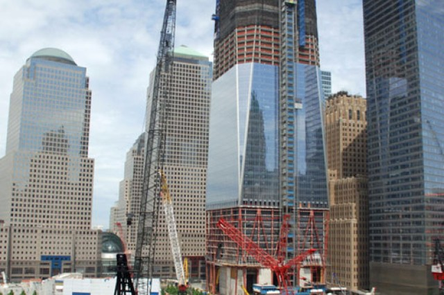 Today, the World Trade Center is a bustling construction site and a symbol of rebirth from the devastation of the 2001 terrorist attacks.