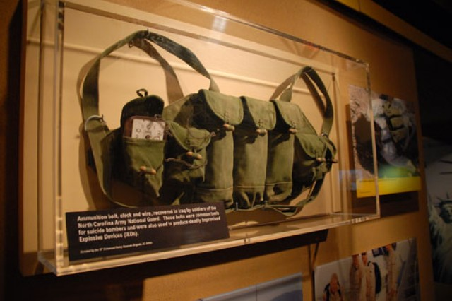 An ammunition belt on display at the National Guard Memorial Museum, National Guard Educational Foundation in Washington, D.C. The belt, complete with clock and wire, was recovered in Iraq by Soldiers from the North Carolina Army National Guard, and was used by suicide bombers.