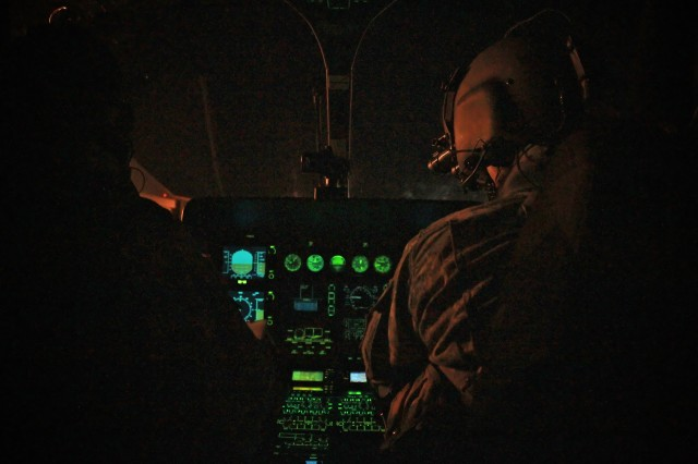 The 2nd Aviation Detachment conducted night vision flying on Aug. 15 in a UH-72A Lakota helicopter, which is equipped with a night vision goggle-compatible cockpit.