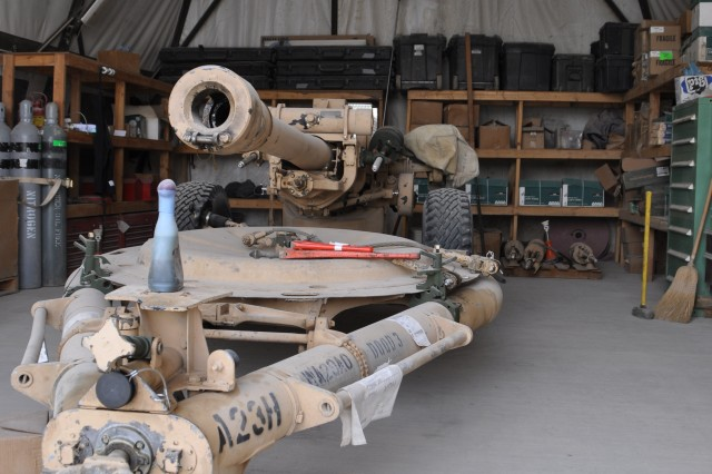 The small arms support center at Kandahar Airfield, Afghanistan, can fix all types of weapons from a 9 mm pistol to a howitzer cannon. This howitzer was in for servicing. The armorers can usually fix weapons in two to five days at the longest and will exchange weapons they are not able to fix.