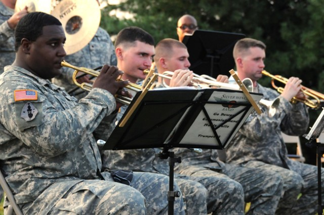 "Members of the 98th Army ""Silver Wings"" Band perform during the Music Under the Alabama Stars event at Howze Field August 19."