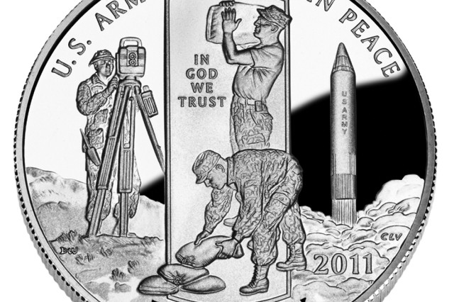 """The obverse side of the Clad Half-Dollar coin, which represents the Army's """"Service in Peace,"""" depicts three examples of such activities undertaken on the nation's behalf. Included is the Redstone missile, a modified version of which placed Explorer I into Earth orbit on Jan. 31, 1958."""