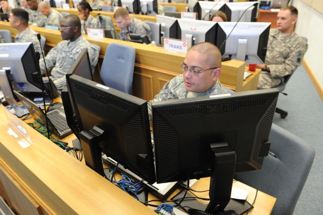 Capt. John Spengler (front) from the Eighth Army Surgeon's Office participates in Ulchi Freedom Guardian 2011.