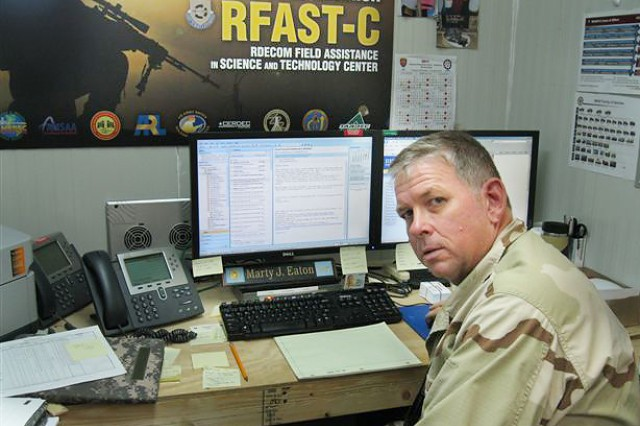 Army civilian Marty Eaton serves as executive officer for a science and technology team deployed to Afghanistan.