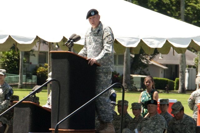 Maj. Gen. William Beard, deputy commanding general, U.S. Army Reserves, U.S. Army Pacific addresses guests during a Flying V ceremony held in his honor. The Flying V ceremony welcomes and honors senior Army officials when they assume duties or depart from an Army command and refers to the way the colors are posted during the ceremony, which is V-shaped.