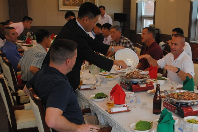 Combined air defense leaders bonded over dinner at the ROK Air Force Officer's Club on Osan Air Base, South Korea.