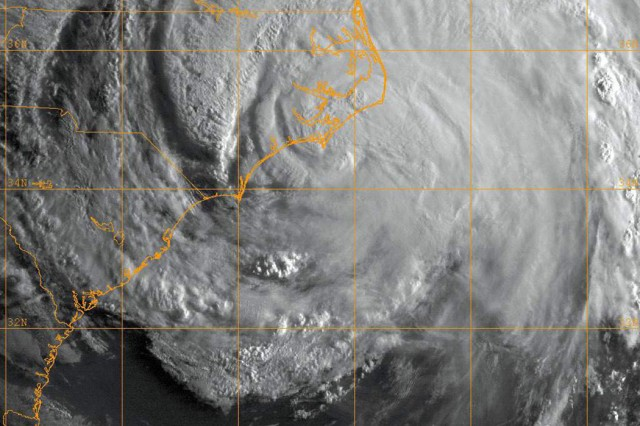 "MONTEREY, Calif. "" A GOES-13 infrared satellite image shows the status of Hurricane Irene at approximately 1 a.m., Aug. 27. Hurricane Irene made landfall near Cape Lookout, N.C., as a Category 1 hurricane with sustained winds of 85 miles per hour."