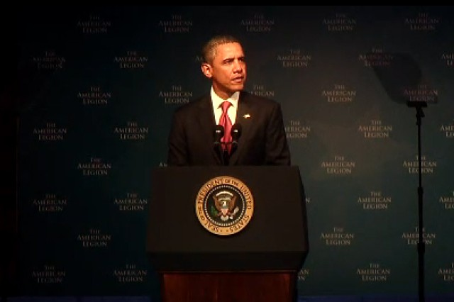President Barack Obama addresses the 93rd Annual Conference of the American Legion, Aug. 30, 2011, at the Minneapolis Convention Center in Minneapolis, Minn.