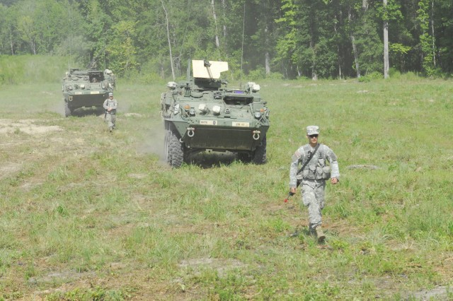 Armor Basic Officer Leader Course students from L Troop, 2nd Squadron, 16th Cavalry Regiment, 316th Cavalry Brigade, move Strykers back into the tactical assembly area Thursday at Good Hope. The lieutenants then prepared for a night reconnaissance mission.