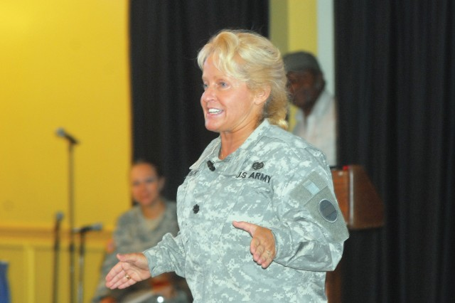 Guest speaker Lt. Col. Sherry-Lynn Womack delivers her address.
