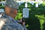 Photographing headstone with smartphone