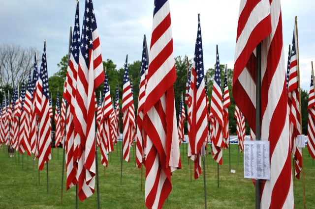 "The ""Healing Field,"" inside Davenport, Iowa, Memorial Park, pays tribute to fallen service members. A Tribute to Our Fallen was held at the park Aug. 26-28.  (U.S. Army photo by Dan Carlson)"