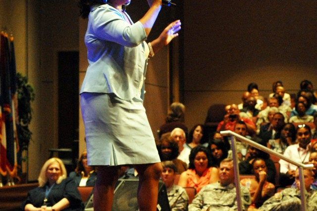 Mary Wilson sings during the Women's Equality Day program Thursday in Bob Jones Auditorium.