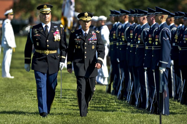 Army Gen. David H. Petraeus reviews troops at his retirement ceremony and official farewell on Joint Base Myer-Henderson Hall, Va., Aug. 31, 2011. Petraeus retired from the military after a 37-year career to become director of the CIA.