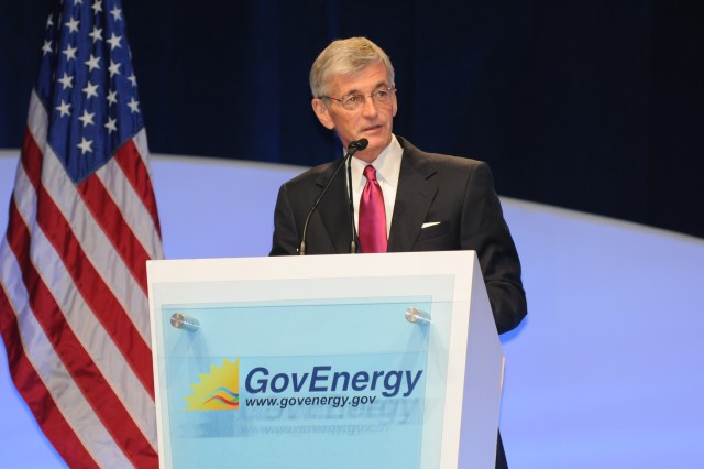 Secretary of the Army John McHugh delivers remarks during the 2011 GovEnergy conference in Cincinnati, Ohio, August 10, 2011.  (Army photo by Spc. John G. Martinez)