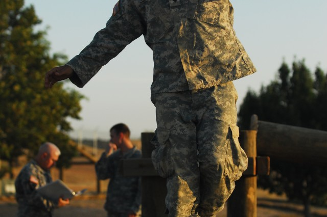 FORT HOOD, Texas -- Spc. Ronald L. Loshbaugh Jr., a Bonita Springs, Fla native with the 2nd Battalion 8th Cavalry Regiment, 1st Brigade Combat Team, 1st Cavalry Division, negotiates an obstacle course at the III Corp pre-requisite Air Assualt Training here, 18 Aug.