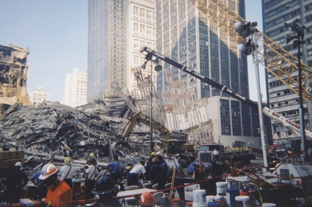 Emergency responders sift through the rubble at ground zero in the days following the attacks on Sept. 11, 2001.