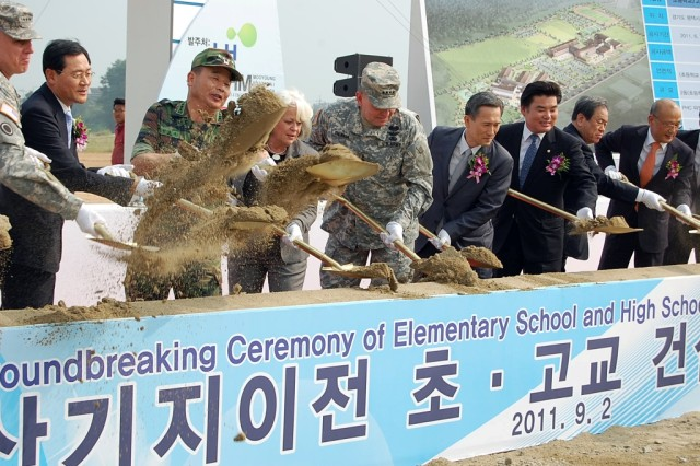 A groundbreaking ceremony was held Sept. 2, 2011, in Pyeongtaek, South Korea, marking the beginning of construction for elementary and high schools for Camp Humphreys. The schools will serve approximately 1,700 students, beginning in June 2013. This $85 million project is being funded by South Korea as part of its commitment to the Yongsan Relocation Plan. (U.S. Army photo by Steven Hoover)