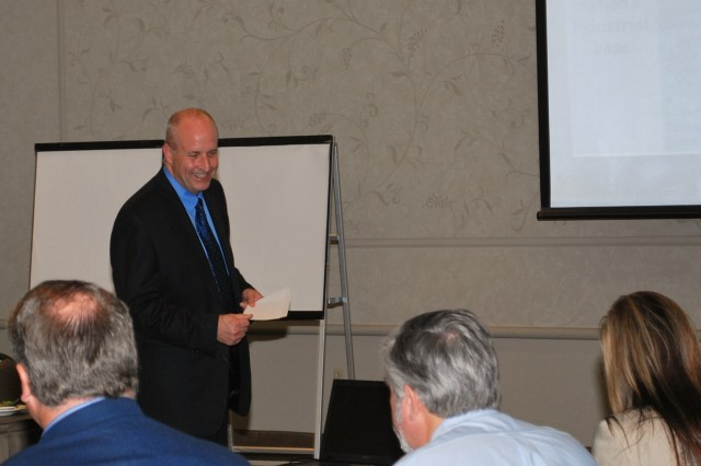 D. Scott Welker, U.S. Army Sustainment Command deputy to the commander, joined other Rock Island Arsenal leaders to discuss the future of the Arsenal with Quad Cities community leaders during a strategic planning luncheon on Aug. 30 at the iWireless arena, Moline, Ill. The emphasis of the meeting was on training at the high school and college level on up through workforce development.