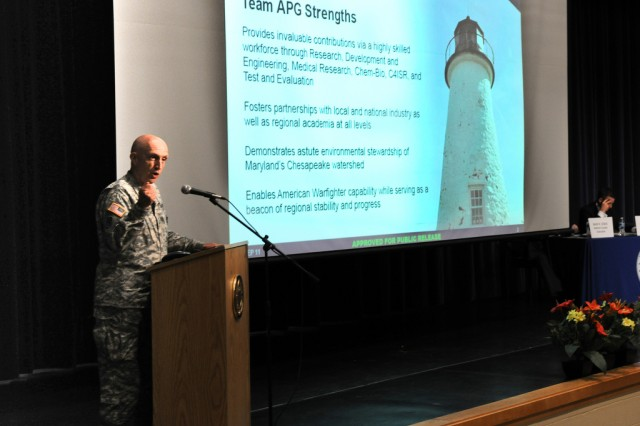 Senior Aberdeen Proving Ground commander Maj. Gen. Nick Justice discusses APG's transformation during the final BRAC town hall meeting Sept. 7 in Aberdeen, Md.