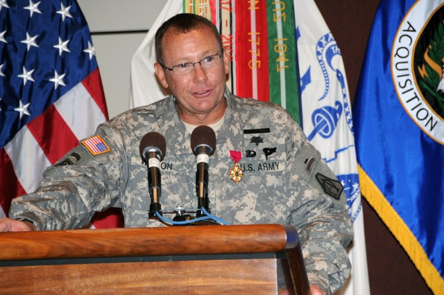 Lt. Col. Terry Wilson, former product manager for Command Post Systems and Integration (PdM CPS & I), addressed the audience during the PdM CPS & I Change of Charter ceremony on July 15 at Redstone Arsenal, Ala. (U.S. Army Photo)