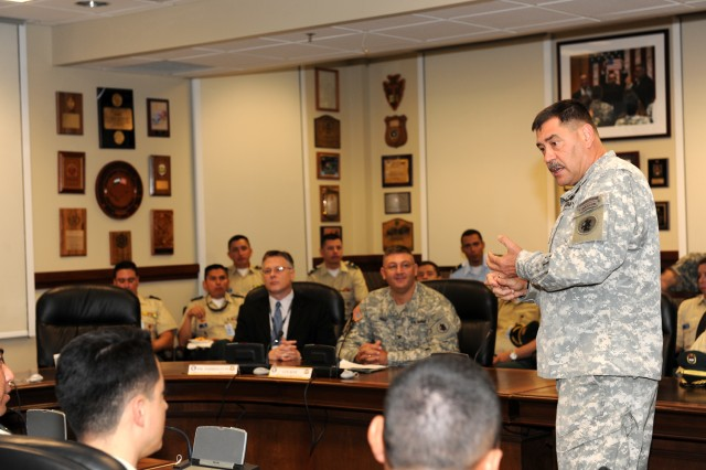 Maj. Gen. Simeon G. Trombitas, U.S. Army South commanding general, welcomes Colombian Army War College students at the U.S. Army South headquarters building at Fort Sam Houston, Texas, Aug. 31, 2011.