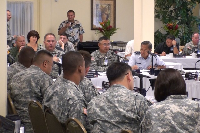 Joint Task Force Homeland Defense (JTF-HD) hosted a National Special Security Related table top exercise (KOKUA) for the Hawaii National Guard (HING) on July 22nd at the Ford Island Navy Lodge on Oahu. The co-sponsored exercise is one of three Department of Defense (DOD) preparatory exercises, designed to review and validate the roles, responsibilities, and operational authorities of the Dual Status Commander (DSC) and Joint Task Force Kupa'a. (Official U.S. Army photos by Bill Erwin).