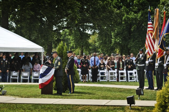 Sgt. Maj. Nicholas Castillo speaks during the Sept. 8 dedication ceremony of the 9/11 Memorial monument, located across from Memorial Field on Rock Island Arsenal.