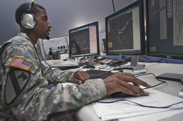 A Soldier uses Command Post of the Future (CPOF). Command Web extends the collaborative capabilities of mission command systems such as CPOF to additional users, and down to the company level, without piling on additional hardware or training.