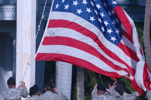 The flag detail folds the American flag during an 9/11 Remembrance ceremony held on Fort Shafter to reflect on the 10 years since 9/11 and to honor those who died, were injured and those who have served.