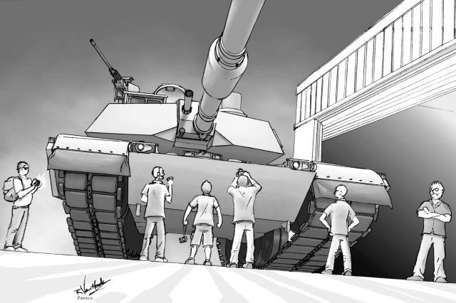 PICATINNY ARSENAL, N.J. Two of the six illustrators from PS Magazine who visited Picatinny Arsenal created this depiction of their visit to Building 18, where they saw and studied the M1 Abrams Tank so that their drawings are as accurate as possible. The preventive maintenance magazine for Soldiers has been published since June 1951 and drawn in nearby Dover since 2001. Illustration by Rob Van Hook. Coloring by Joe Panico.