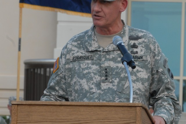 Gen. David M. Rodriguez speaks during his assumption of command ceremony at Fort. Bragg, N.C., Sept. 12, 2011.  He spoke about his experiences as a leader and his plans for the future of Forces Command.  Rodriguez is the 19th commander of FORSCOM.