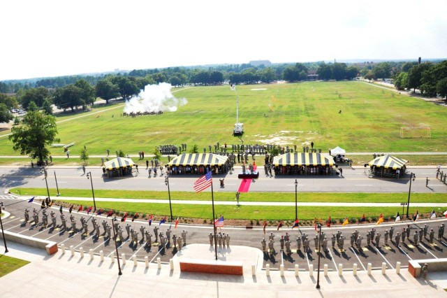 An overhead view of the Forces Command Assumption of Command Ceremony held at Marshall Hall, Fort Bragg, N.C., Sept 12, 2011.